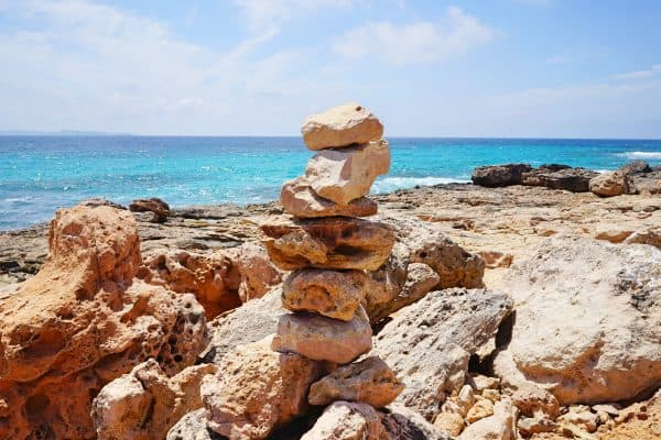 Cap de Ses Salines bey Santanyi, südlichster Punkt von Mallorca, Leuchtturm Far Cap de Ses Salines