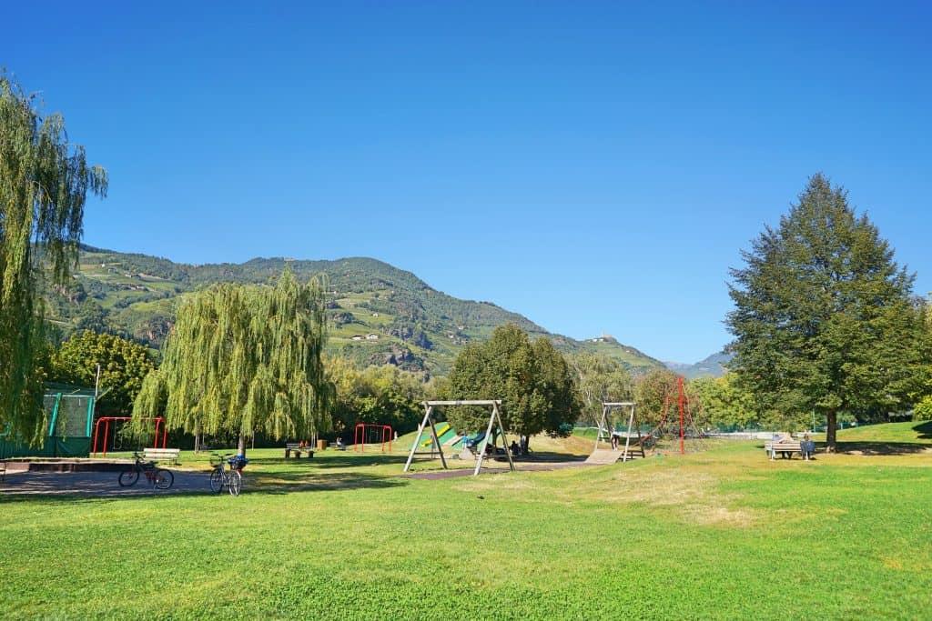 Bozen Spielplatz Talfer Wiesen, Bozen mit Kindern, Bozen with kids, playground Bolzano