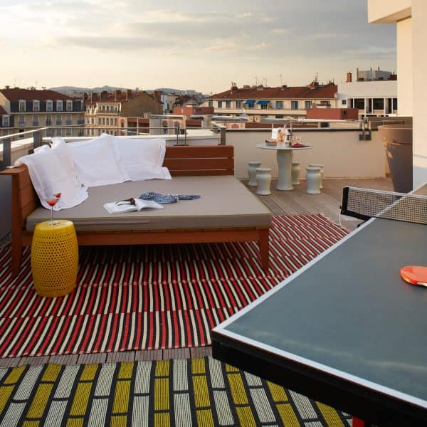 mama shelter; child-friendly hotel Lyon with kids, ROOF TOP