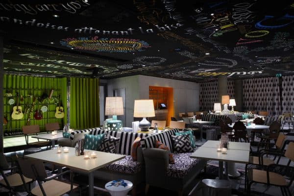 mama shelter; child-friendly hotel Lyon with kids, restaurant canape