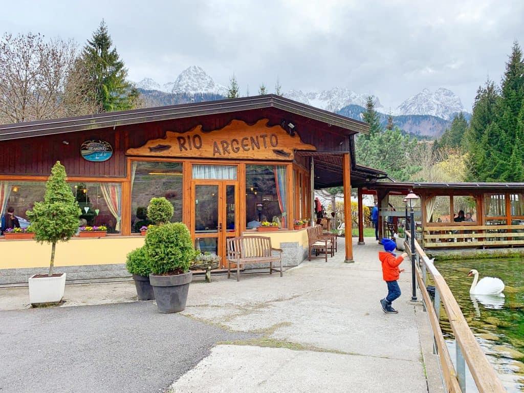 children-friendly restaurant Rio Argento in northern Italy, best freshest trout